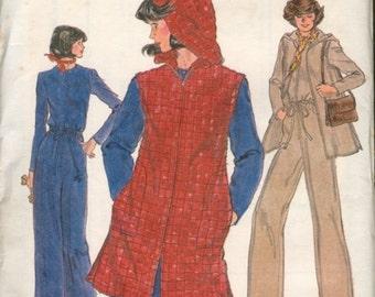 Nice Uncut Vintage 1970s Vogue 9388 Hooded Jacket Vest and Wide-Leg Jumpsuit Sewing Pattern B34