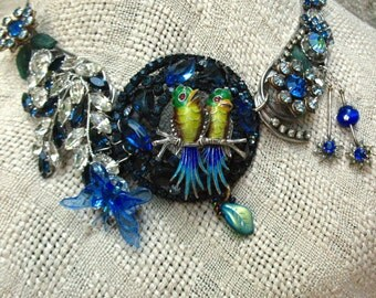 Refashioned vintage jewelry  necklace parrot lovebirds cockatoo repurposed Art Deco sterling Weiss blue rhinestone wearable art