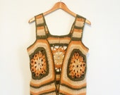 Vintage 1960s / 1970s Green, Orange, Grey & Tan Crochet Hippie Tank Vest w/ Flower Detail S / M
