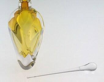Hand Blown Glass Perfume Bottle - Gold Topaz Overlay  by Jonathan Winfisky