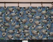Blue Valance  - Duck Valance . Blue Water . Lily Pads .   Vintage VIP Cranston Fabric  . Handmade by Pretty Little Valances