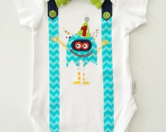 Party Monster Baby Boy's First Birthday  1st birthday Outfit Boys Bodysuit