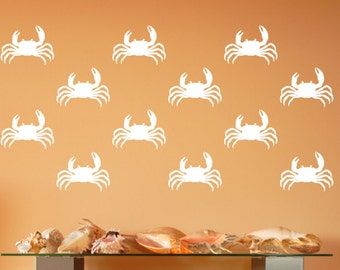 Crab Wall Decals | Vinyl Wall Decals |  Beach Decals | Nautical Wall Decals | Beach Decor | Ocean Decals | Nursery Decor | 22580