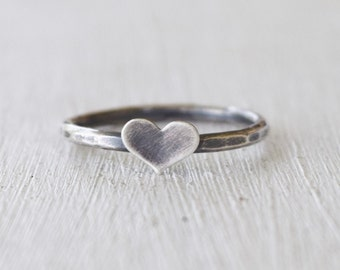 Sterling Silver Tiny Heart Ring - Rustic Hammered Ring - Gift For Her - Mother Daughter - Stacking Rings - BFF - Made To Order - Your Sizes