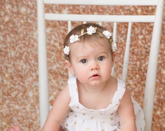 Mulberry Flowers on Gold Leaf Halo, many colors to choose from, bridesmaid, bride, newborn, paper flower halo by Lil Miss Sweet Pea