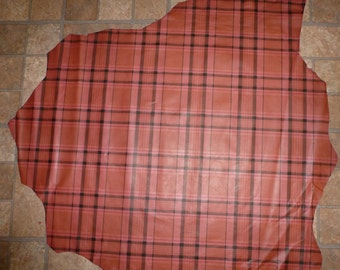 "Leather 34""x30"" Dark Pink PLAID Print 7 sq ft LAMBSKIN Hide #207 1.5oz / .6mm PeggySueAlso"
