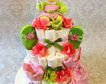 Baby Girl Frog Princess 3 tier Diaper cake - an adorable diaper baby shower gift - made to order