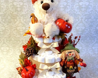 Baby Girl Baby Pumpkin 3 tier Diaper cake - an adorable diaper baby shower gift - made to order
