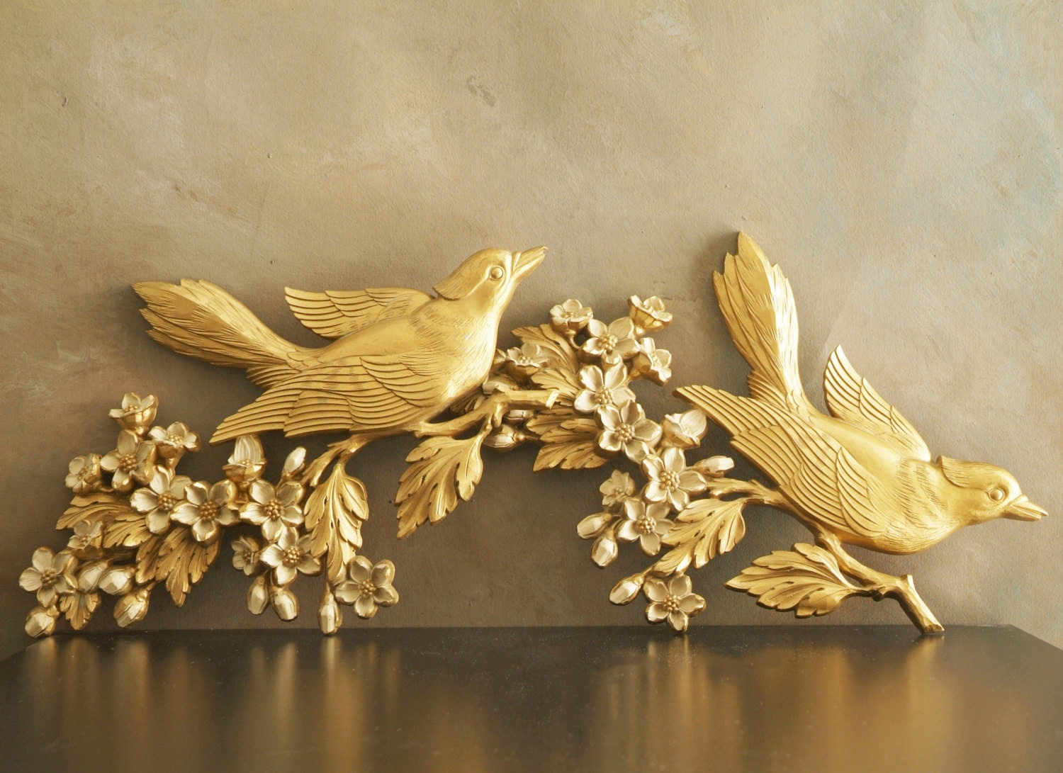 Vintage Gold Bird Wall Plaques by Dart Industries, Birds on Dogwood ...