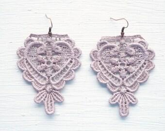 Lavender Blush Lace Earrings