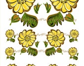 Folk Art Flowers, Mexican Flowers, Digital Flowers, Scrapbooking Flowers, Clip Art Flowers, Craft Flowers, Yellow Flowers, Printables