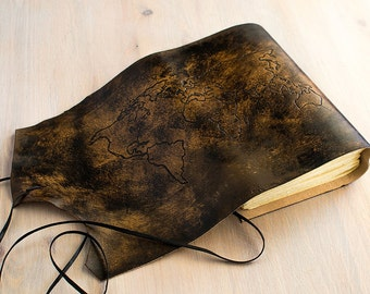 World Map Travel Journal, Leather Traveler Notebook, Adventure Journal Personalized Made to order in A6 size