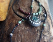 3 tier hippie flower necklace - Boho layered necklace - Mixed media necklace - Black, seafoam green, dark red