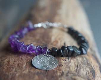 """Amethyst, blackstone and Sterling Silver bracelet **ON SALE** Boho chic bracelet with rustic Sterling charm - Ready to ship - 7.5"""" long"""