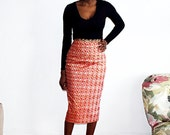 African print midi pencil skirt