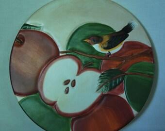 Handpainted Trivet Apple Orchard by Sakura David Carter Brown