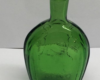 Green Wheaton Benjamin Franklin Bitters Bottle 3 x 1 Vintage Miniature