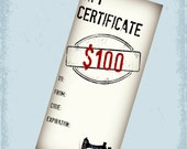 100 Dollar Gift Certificate - Gift Card For Cherishables - CherishablesNJ - Sewn in NJ - Ready to Ship