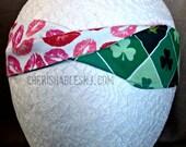 Valentine's Day Headband - St. Patrick's Day Reversible Headband - Elastic Band - Holiday - Teacher Gift - Lips - OOAK - Ready to Ship