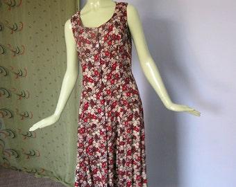 1990s Vintage Floral Sleeveless Duster Dress Small/Medium
