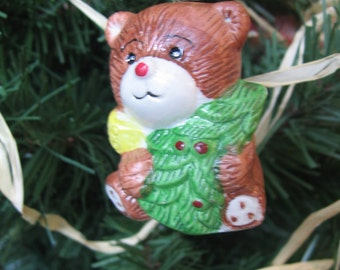 "Vintage Bear Ornament, Ceramic 2"" Ornament, Made in Hong Kong, Vintage, Handpainted, Bear Tree Ornament, Christmas Decor MyVintageTable"