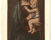 Raphael's Madonna and Child Mary & Baby Jesus French and Latin Vintage Holy Prayer Card, Mother of the Savior. Catholic Prayer Card