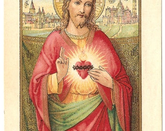 RARE Sacred Heart of Jesus French Antique Holy Prayer Card, Devotional Card, Goldprint Chromolithograph from Vintage Paper Attic