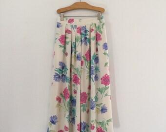 Vintage 80's Floral Midi Skirt / Cream Flowers Skirt S