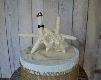 Firefighter beach wedding cake topper starfish fireman groom decorations helmet fire fighter destination wedding nautical bride and groom