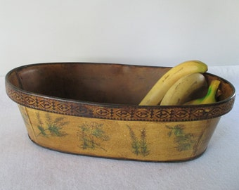 Serving Basket, Metal Vintage French Country Cottage Herbs, Fruit Bread Container Produce Plant Holder Yellow Mustard Brown