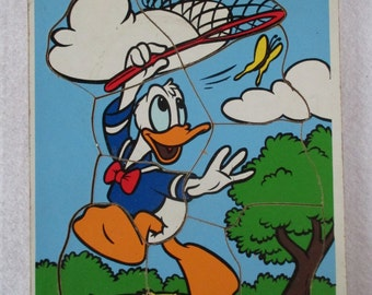 Donald Duck, Puzzle Playskool #190-28, Vintage 60's, Brown Orange Blue Yellow, Wood Manipulative, Nursery Child's Decor, Playroom Picture