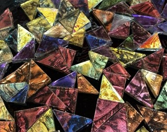 50 TRIANGLES - VAN GOGH Mixed Colors Stained Glass Mosaic Tiles B16