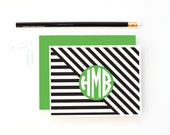 Personalized Bridesmaids Gifts Monogram Stationary for Girls Custom Stationery Modern Thank You Notes Black Green Note Cards Geometric Print