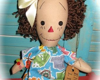 "Primitive Raggedy 14"" Doll Enjoy Life OOAK Handmade"