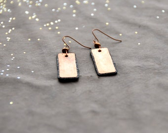 The Candy Bar hammered copper Earrings backed with black leather, 1 Pair select size