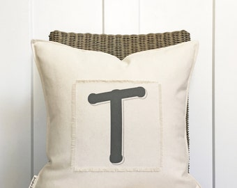 """18"""" Customizable Letter Pillow - Family Pillow - Last Name Letter - Scrappy Frayed Pillow Cover - Cotton Canvas - Loop and Toggle Closure"""