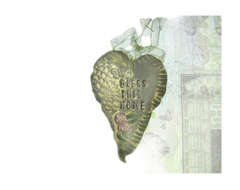 Bless This Home - Wall Heart, Wall Decor Heart, Ceramic Heart, unique heart,  pottery heart,    # 144