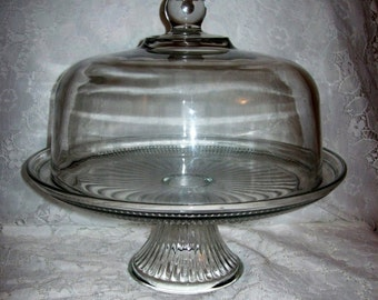 Vintage Crystal Pedestal Cake Plate Domed Lid Reverses to Punch Bowl 'Canton' by Anchor Hocking Only 24 USD