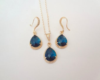 Blue sapphire jewelry set - Czech glass ~ Necklace and earring set ~ Gold filled ~ 14k gold over sterling silver wires ~Something blue ~Gift