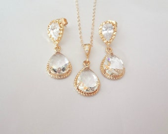 Gold earrings and necklace set, Clear, Teardrops, Gold filled, 14k Gold over Sterling Cubic Zirconia earrings, High quality, Bridal jewelry