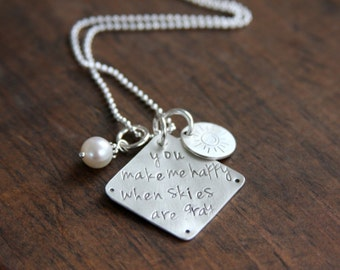 Hand stamped necklace, You Are My Sunshine, sterling silver, personalized, hand stamped, hand stamped jewelry, mom necklace, gift