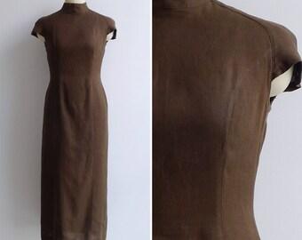 Vintage 80's Space Cadet Avant Garde Brown Linen Pencil Dress XS or S