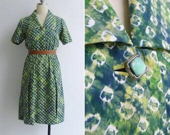 Vintage 70's Shibori Japanese Tie Dye Green Shirt Dress M or L