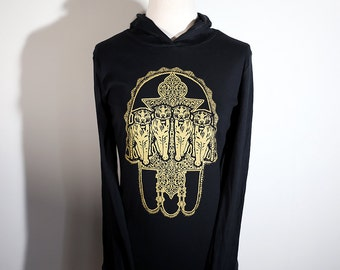 Tigers with Hand of Fatima Metallic Gold Screenprint on Black Hoodie // Sher Khamsa //