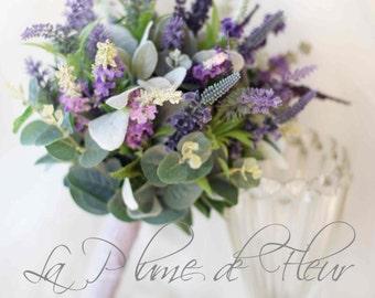 Wildflower lavender wedding bouquet.  Bride Bridesmaid bouquet of wild lavender.   Pretty rustic bouquet.