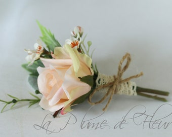 Men's Buttonhole, Boutonniere. Vintage, country garden style buttonhole, peach rose, Geraldton wax and grey foliage.  Men's wedding flowers