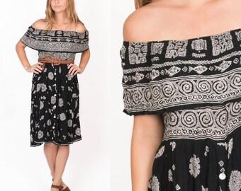 Vintage Off Shoulder Ethnic Tribal Print Gauze Black White Midi Dress