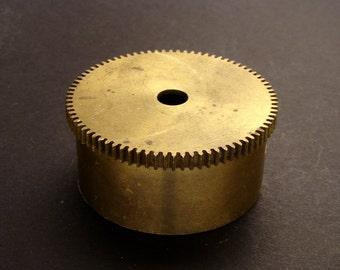 Large Brass Cylinder Gear, Mainspring Barrel from Vintage Clock Movement, Vintage Clockwork Mechanism Parts, Steampunk Art Supplies 03894