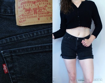 1990s Vintage Levi's 517 Solid Black Denim Cut Off Jean Shorts / 90s High Waist Waisted Distressed Jeans Cutoffs Cut Offs / Medium M 5 6 7