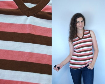 1970s Vintage Brown Pink & White Striped Tank Top / 70s Women's Athletic Jersey Knit V-Neck Sleeveless Tee T Blouse Shirt Tunic / Medium M